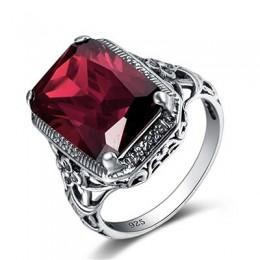 Bague Ringen prostokąt Vintage ciemnoczerwony pierścionki dla kobiet nowy kamień szlachetny srebrny 925 Jewlery pierścień hurtow