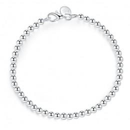 LEKANI 100% 925 solidna prawdziwe srebro moda 4mm koraliki łańcuch bransoletka 20cm dla nastoletnie dziewczyny Lady prezent kobi