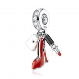 DALARAN srebro urok 925 czerwona emalia jabłko koraliki Fit Pandora Charm bransoletki dla kobiet tworzenia biżuterii prezenty św