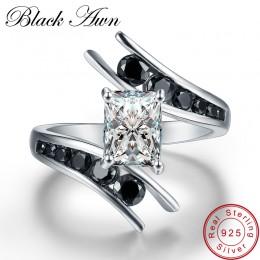 [Czarny AWN] Fine Jewelry 3.9 Gram 100% oryginalna 925 Sterling Silver wiersz czarny kamień pierścionki zaręczynowe dla kobiet B