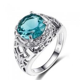 Bague Ringen Vintage 100% 925 Sterling Silver utworzono aleksandrytowe pierścienie z kamieniami szlachetnymi dla kobiet Party ro