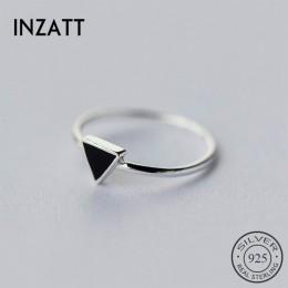 INZATT prawdziwe 925 Sterling srebrny geometryczny czarna emalia trójkąt OL regulowany pierścień minimalistyczny Fine Jewelry dl