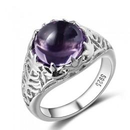 Bague Ringen Vintage 100% 925 srebro okrągły naturalny ametyst obrączki ślubne dla kobiet biżuterii rozmiar 6-10