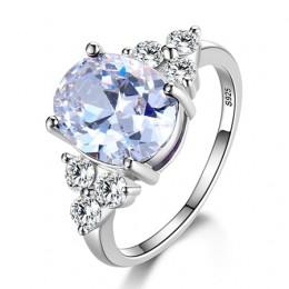 Biżuteria damska 925 srebro pierścionki białe różowe światło niebieski Champagne cyrkon owalny obrączka