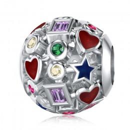 DALARAN Diy Charm srebro 925 ażurowy kolorowy koralik na oryginalną bransoletkę Pandora Charms autentyczna biżuteria damska