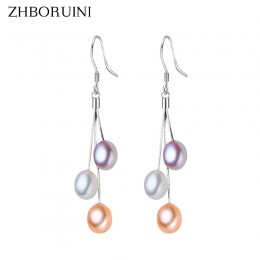 ZHBORUINI 2019 kolczyki z pereł naturalna perła słodkowodna frędzle perła biżuteria spadek kolczyki 925 srebro biżuteria dla kob
