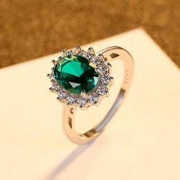 CZCITY księżna diana William Kate Sapphire Emerald Ruby pierścienie z kamieniami szlachetnymi dla kobiet biżuteria zaręczynowa ś