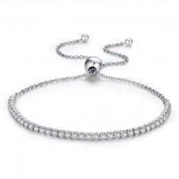 BAMOER polecane marki oferty 925 Sterling srebrna iskrząca Strand bransoletka kobiety Link bransoletka tenisowa biżuteria srebrn