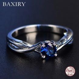 Trendy kamienie szlachetne ametyst srebrny pierścień niebieski szafir pierścień srebrny 925 biżuteria akwamaryn pierścień dla ko