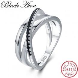 Klasyczne 3.9g 925 Sterling Silver Fine Jewelry bagietka wiersz zaręczyny czarny spinel obrączki dla kobiet Bijoux Femme G006