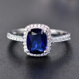 Modny akwamarynowy pierścionek z ametystem 925 srebrny pierścionek z kamieniami szlachetnymi naturalny dla biżuterii niebieski s