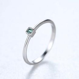 CZCITY oryginalna 925 Sterling Silver VVS zielony Topaz obrączki dla kobiet minimalistyczny cienki koło klejnot pierścionki biżu