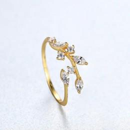 CZCITY koreański 925 srebro Handmade liść oliwny pierścionki dla kobiet wykwintne CZ kamień regulowany otwarty pierścień srebro