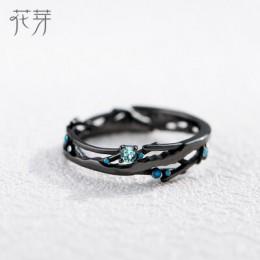 Thaya CZ droga mleczna czarne pierścienie niebieski jasny cyrkonia pierścionki biżuteria ze srebra próby 925 dla kobiet Lover Vi