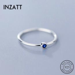 INZATT prawdziwe 925 Sterling Silver niebieski cyrkon okrągły pierścień dla kobiet mody śliczne Fine Jewelry 2019 minimalistyczn
