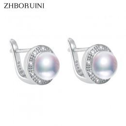 ZHBORUINI 2019 nowa perła kolczyki 925 srebro biżuteria w stylu Vintage naturalna perła słodkowodna Stud kolczyk dla kobiet prez