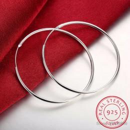 100% 925 srebro kolczyki w kształcie obręczy dla kobiet 50mm 60mm okrągłe koło pętli proste kobieta srebrne kolczyki koła