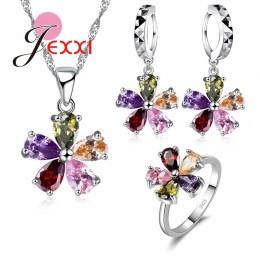 Moda kobieta prezent na boże narodzenie wysokiej jakości 925 Sterling Silver Jewelry Sets Multicolor kryształowy naszyjnik + kol