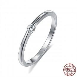 SILVERHOO 925 srebro pierścionki dla kobiet śliczne cyrkon okrągły geometryczny 925 srebro mała biżuteria ślubna minimalistyczny