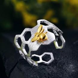 Lotus zabawy prawdziwe 925 Sterling Silver 18K złota pszczoła pierścienie naturalne projektant biżuterii domu straży Honeycomb o