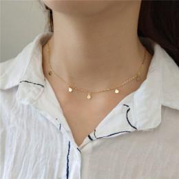 INZATT prawdziwe 925 Sterling srebrny geometryczny okrągły Choker naszyjnik dla kobiet mody minimalistyczny biżuterii urocze akc