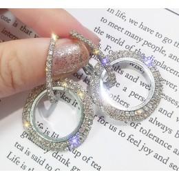 Nowy 925 srebrna igła rhinestone koło kryształ z Swarovskis kolczyki temperament koreański osobowość dziki dzień matki prezent