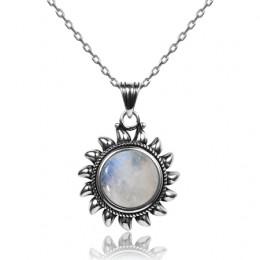 Biżuteria damska srebrny łańcuszek z ozdobnym kamieniem księżycowym w kształcie słońca damski młodzieżowy