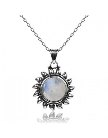 Naturalny kamień księżycowy 925 srebro biżuteria wisiorki naszyjniki dla kobiet mężczyzn słońce geometryczny kształt Vintage Fas