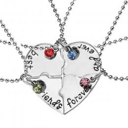"""4 sztuk/zestaw """"najlepszy przyjaciel na zawsze i zawsze"""" BFF przyjaciel naszyjnik zestaw 4 sztuk kształt serca Puzzle ręcznie tł"""