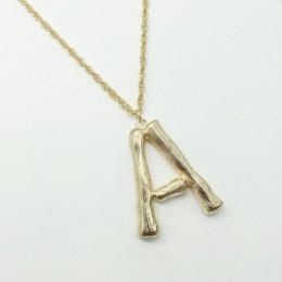F. J4Z gorąca sprzedaż duży bambusowy naszyjnik listowy wisiorek dla kobiet złoty A-Z 26 inicjały kołnierz biżuteria z pierwszą