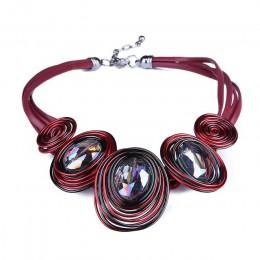 HanCheng New Fashion skórzana linka utworzono kryształowy drut Choker naszyjnik kobiety naszyjniki Handmade komunikat biżuteria