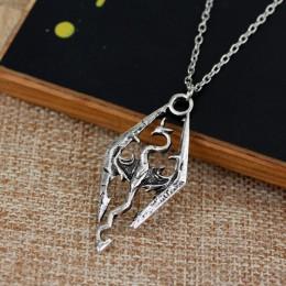 Vintage Elder Scrolls Skyrim wisiorek w kształcie smoka naszyjnik moda pterozaur naszyjniki lato grzywny mężczyzn biżuteria nasz