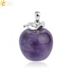 CSJA zawieszenie jabłko naturalny kamień wisiorek wisiorki z kryształami kwarcowy koralik naszyjniki biżuteria dla kobiet kobiet