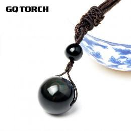 Naszyjniki z kamienia naturalnego dla kobiet i mężczyzn czarne obsydianowe koraliki tęczowe Transfer piłki Lucky Love