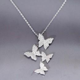 Trend urocze olśniewające Micro CZ cyrkon cztery wisiorek z motylem naszyjniki dla kobiet prezent Choker 925 srebro biżuteria SA