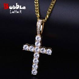 Mężczyźni kobiety AAA cyrkon krzyż wisiorek złoty kolor materiał miedziany Iced CZ wisiorki krzyżowe naszyjnik łańcuch moda biżu