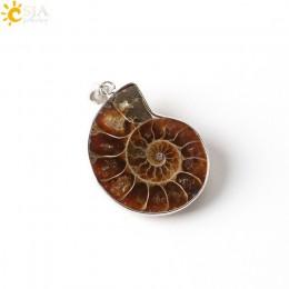CSJA kamienie naturalne wisiorki amonit skamieniałości muszla ślimak Ocean Reliquiae muszla zwierząt wyróżniający się naszyjnik