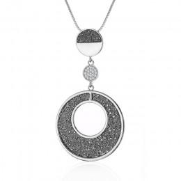 2019 stary naszyjnik dla kobiety geometryczne duże koło czarny kryształ wisiorek długi naszyjnik łańcuch węża biżuteria akcesori