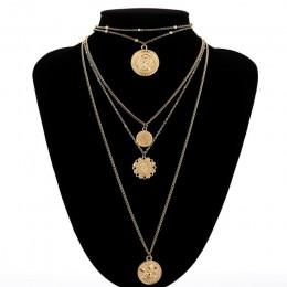 Ingesight. Z Boho 5 wielowarstwowe długi regulowany łańcuszek 4 wisiorek Choker naszyjnik moda moneta Rune królowa biżuteria kob