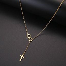 CACANA długi wisiorek krzyż i cyfrowy 8 naszyjniki wisiorki dla kobiet prosty Design naszyjnik stylowa stal nierdzewna biżuteria