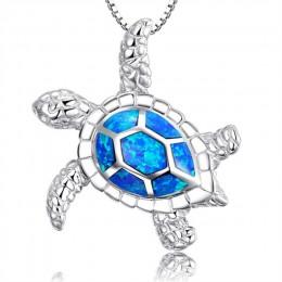 Modne niebieskie Opal żółw morski wisiorek naszyjniki dla kobiet kobiece zwierzę ślubne ozdobne naszyjnik łańcuch Ocean biżuteri
