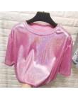 Nowy letni styl retro stylowy jasny jedwab damskie bluzki błyszcząca luźna krótka koszulka z krótkim rękawem sexy club estetyczn
