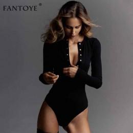 Fantoye Sexy body z długim rękawem kobiety 2020 wiosna zima czarny Slim kombinezony bodycon pajacyki damskie rozciągliwe body to