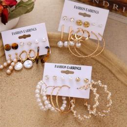 Czeski Tassel akrylowy zestaw kolczyków dla kobiet duże geometryczne okrągłe serce perła cyrkonie kolczyki boucle doreille femme