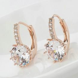 2018 New Vintage kolczyki różowe złoto kryształ CZ Bling spadek kolczyki dla kobiet dziewczyn boże narodzenie Gfit moda biżuteri