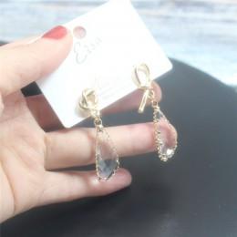 2019 koreański nowy projekt moda biżuteria podwójne kwadratowe kolczyki luksusowe przezroczyste szkło kryształowe kolczyki dla k