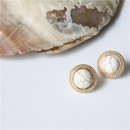MENGJIQIAO 2019 japonia nowy Vintage okrągły marmur Opal kamień duże kolczyki ze sztyftami dla kobiet moda Temperament imitacja