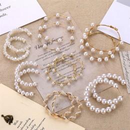FNIO Big imitacja perły kolczyki 2019 dla kobiet Lover geometryczne złote okrągłe serce wypadnij zwisają kolczyk koreański komun