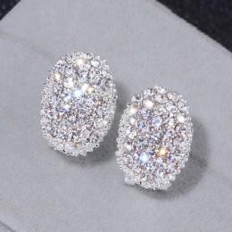Klasyczny Design romantyczna biżuteria ze srebra próby 2018 AAA sześcienne cyrkonie kolczyki z kamykami dla kobiet elegancka biż