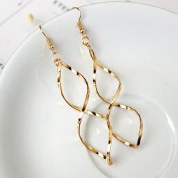 2020 nowe proste spiralne zakrzywione długie kolczyki wiszące dla kobiet Wave Design moda damska biżuteria hurtowych wesele kolc